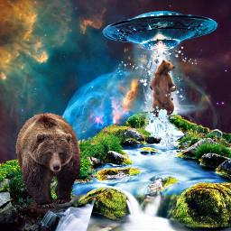 freetoedit bear water ufo espace