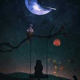 vipshoutout picsartedits fantasyart autumnleaves bird freetoedit