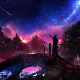 hd beautiful nigth lights stars freetoedit nightforest