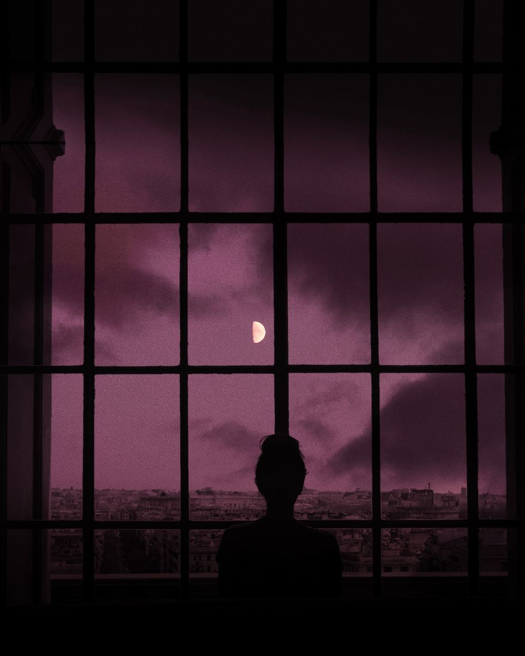 #freetoedit #moon #girl #selenophile #night #dark #window @picsart