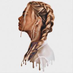 girl blone braids dropping effects freetoedit