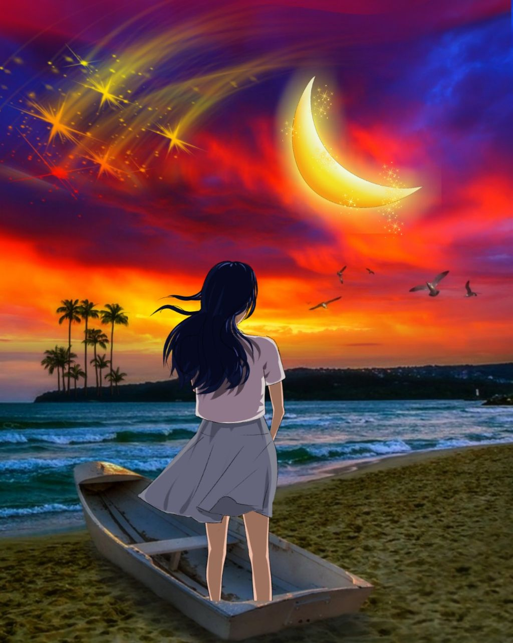 #freetoedit #landscape #scenery #lakeside #nightsky #moonlight #shootingstars  #fallingstars #boat #girl #skylovers #skyporn #naturesbeauty #colors #colorful #colorlove #mixedmedia #photomanipulation #picsarteffects #editstepbystep #myedit #madewithpicsart