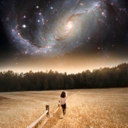 freetoedit background galaxy star stars light creative visual surreal remix creativity art girl