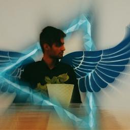 wings wing black blue cyan freetoedit