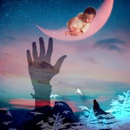 freetoedit doubleexposure baby sleeping fantasy
