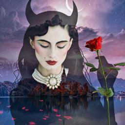 freetoedit halloweensilhouette beautiful woman beautyspot