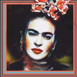 freetoedit frida fridakahlo fridaflowercrown portrait