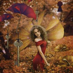 freetoedit pumpkin girl reddress autumn