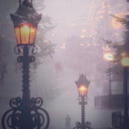 freetoedit cityscape nightlights lamppost foggy ircfoggydays foggydays