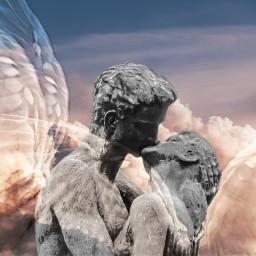 angels trueloveskiss love kiss sky freetoedit