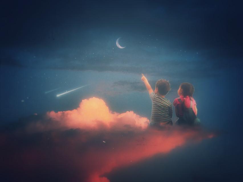 #freetoedit #moon #children #kids #sky #madewithpicsart #clouds #stars #night