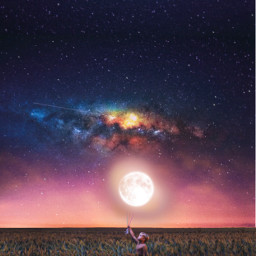 space kid moon balloon nightsky freetoedit