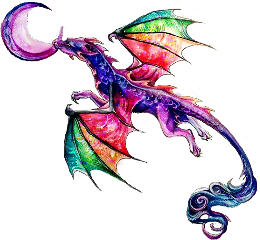 art dragon rainbow moon stickers freetoedit