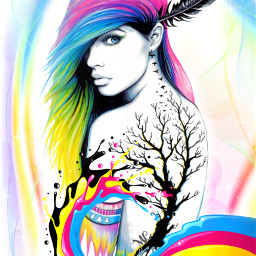 freetoedit art womens colored coloredhair
