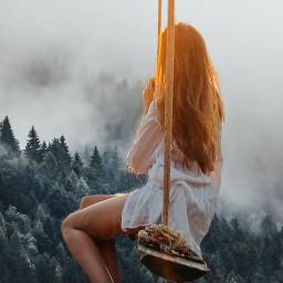 freetoedit interesting woman swing forest