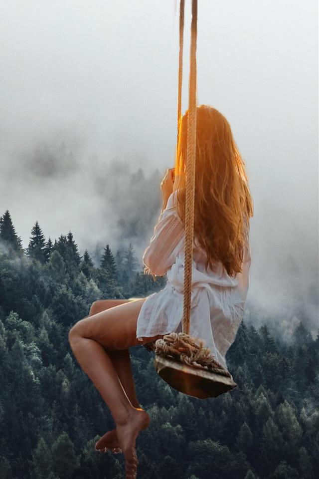 #freetoedit #interesting #woman #swing #forest