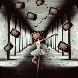 freetoedit ballerina tv myedit surrealart