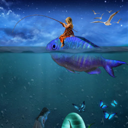freetoedit fishing fantasy art myedit doubleexposure madewithpicsart awesomestickers