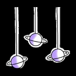 freetoedit purple white hanging planets