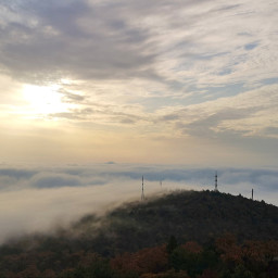 mountain clouds fog sky sun