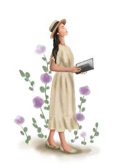 ftestickers flowers woman book standing freetoedit