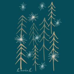 letitsnow trees snowflakes winter woods