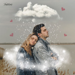 couple magic rain love valentine freetoedit