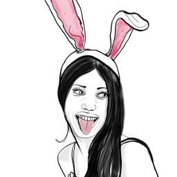 dcoutlineart outlineart bunnyears lineart tongueout freetoedit