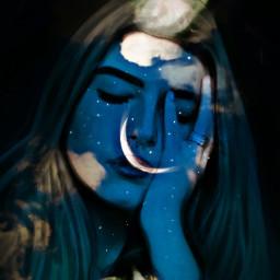 freetoedi doubleexposure blue artisticportrait emotions freetoedit