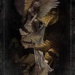 editedbyme november fallenleaves angel doubleexposure