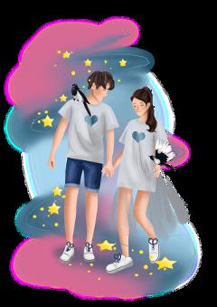 ftestickers love couple walking stars freetoedit