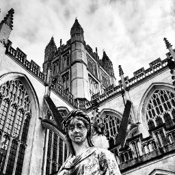 bathabbey abbey cathedral statue blackandwhite