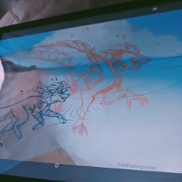 drawing wip dragon crazykiff wolf