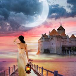 freetoedit fantasyart castle bridge woman