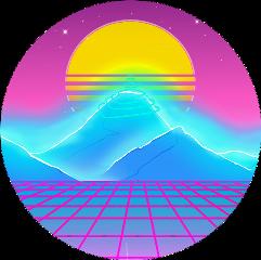 mountains neon vaporwave pink purple freetoedit scmountains