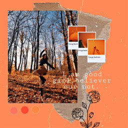 freetoedit orange collage retro girl ecaesthetic aesthetic