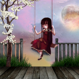 freetoedit girl swinging nighttime moonlight