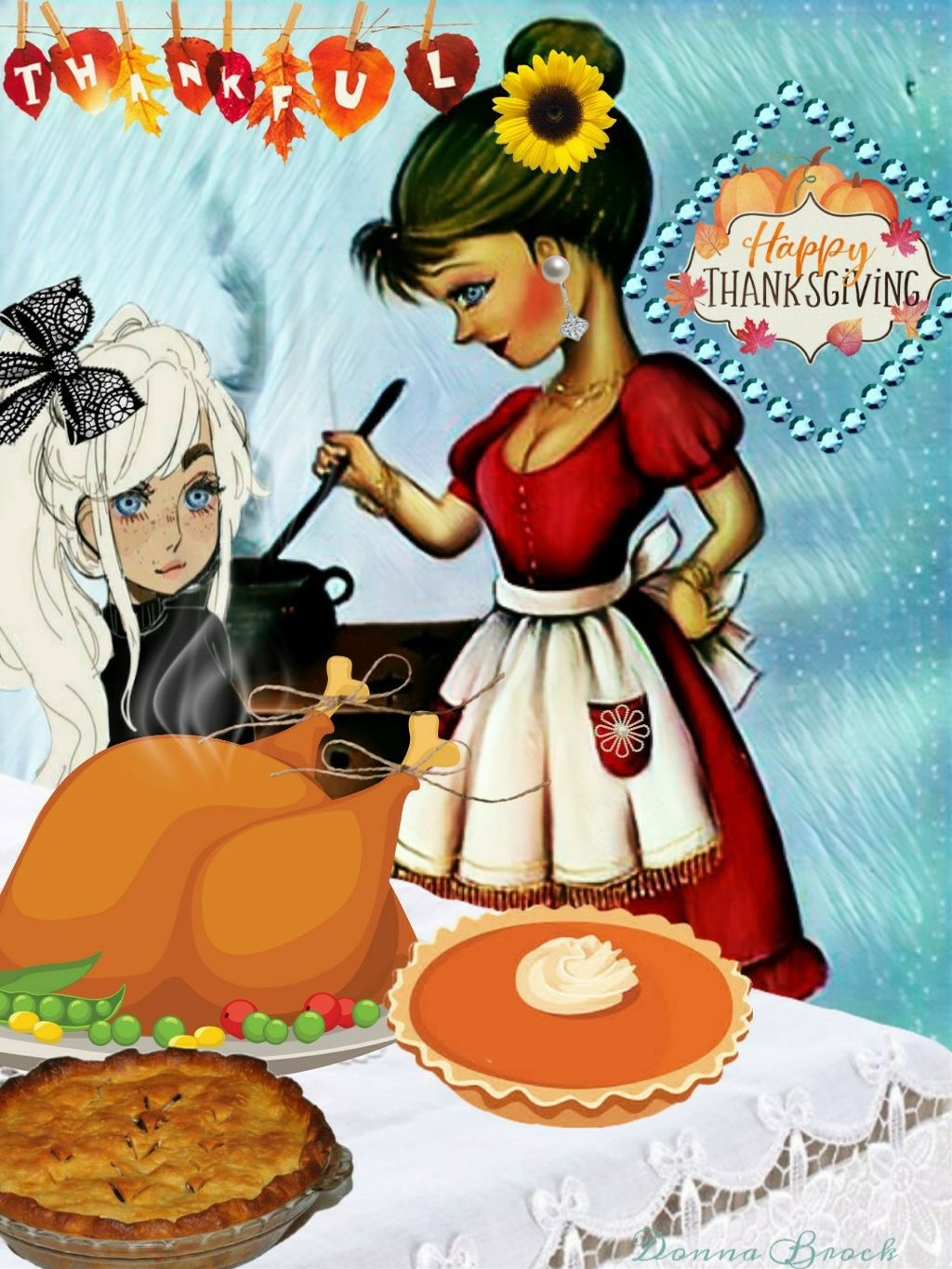 BE THANKFUL ... THANKSGIVING. CHALLENGE ..   #thanksgiving #freetoedit. #woman #girl #cooking #dinner  #fcthanksgiving