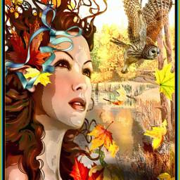 freetoedit autumn woman pretty owl ircthankful thankful