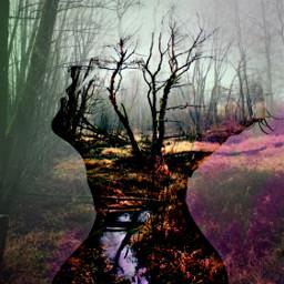 inspiration fantasyart doubleexposure man forest freetoedit