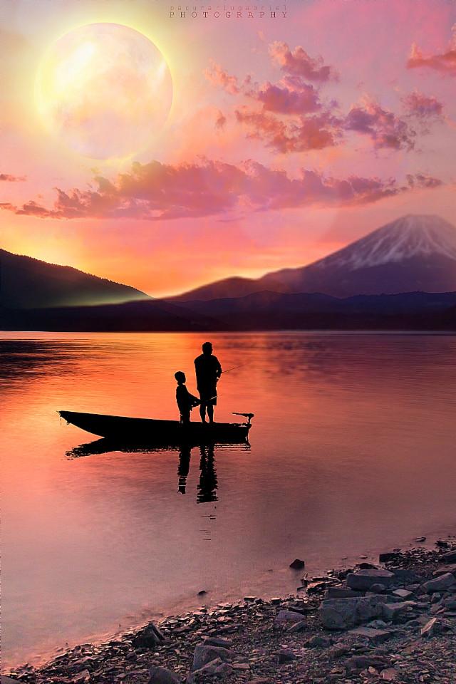 #freetoedit #nature #landscape #scenery #mountains #lake #lakeside #boat #fishing #silhouette #nightsky #moonlight #sunset #skylovers #skyporn #naturesbeauty #artistic #aestheticedit #creativeedit #myedit #madewithpicsart