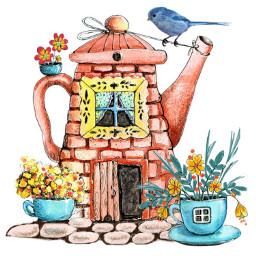 freetoedit teapot bird birdhouse flowers