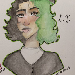 requests oc girl green painting