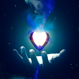 freetoedit hand heart light outerspace