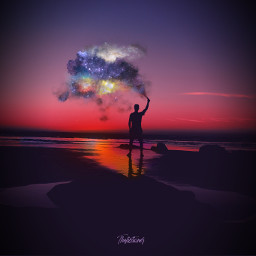 smokebomb galaxy fantasy shilouette goldenhour freetoedit