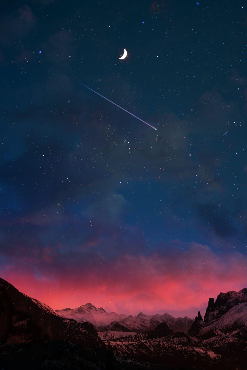 #freetoedit #background #madewithpicsart #night #sky #stars #moon #mountains