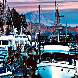 boats freetoedit boat mountain sunset