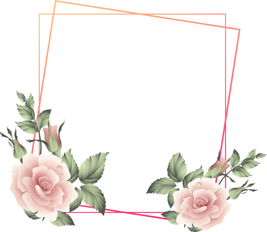 #rose #square #floral #frame #glitter  #geometric #golden #colorful #kpop  #layers #overlay #border #wedding