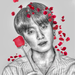 bts jungkook rose kpop art freetoedit