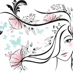 freetoedit girl flowers butterflies outlines